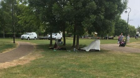Jubilee Gardens, next to the Maltings today. An overturned shopping trolley and a mysterious cloaked