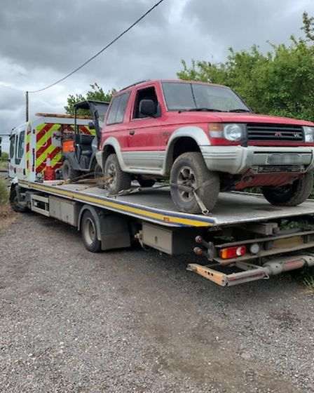 One of the stolen vehicles recovered in the police raid at Willingham