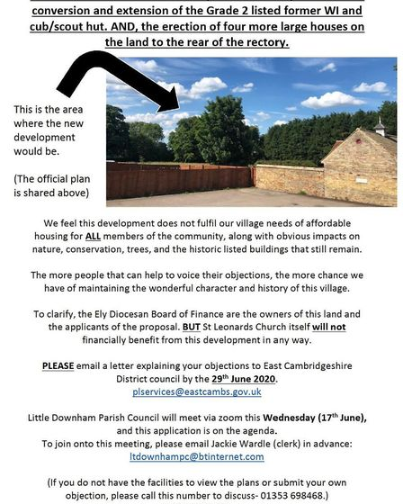 Posters being distributed around Little Downham about Diocese of Ely plans to create five homes. Ima