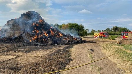 Arsonists set 300 bales of straw alight on Doddington Road in Chatteris on Monday June 15. Picture: