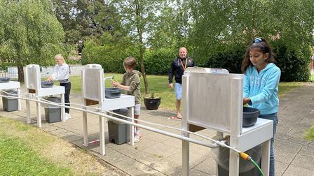 Students washing hands at Felsted School following the coronavirus lockdown restrictions easing. Picture: Felsted School