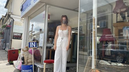 RSPCA volunteer outside the charity shop in Great Dunmow. Photo: Andra Maciuca.