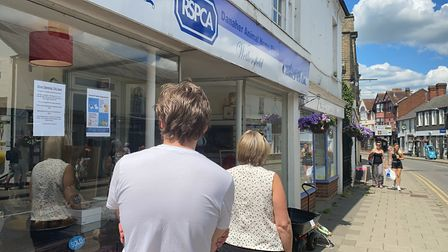 People queueing outside the RSPCA in Great Dunmow. Photo: Andra Maciuca.