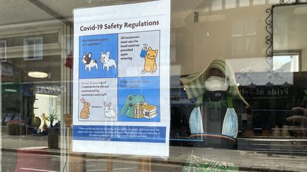 The RSPCA displayed a themed poster advising of social distancing and hygiene rules. Photo: Andra Ma