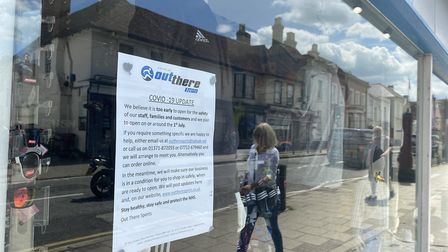 Sign in a Great Dunmow sports shop window announced reopening on July 1. Photo: Andra Maciuca.