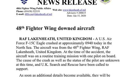 RAF Lakenheath news release just moments ago. Confirmation of crash off the coast of Hull