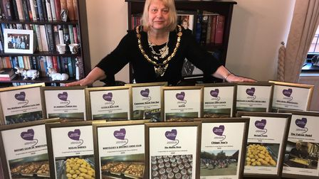 The outgoing mayor of Whittlesey, Cllr Julie Windle, with the certificates. Picture: ROBERT WINDLE