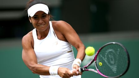 Heather Watson in action at Wimbledon