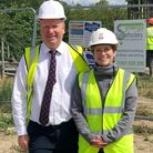 Work began in July 2019 at village renewable heat project. Council leader Steve Count and Emma Flet