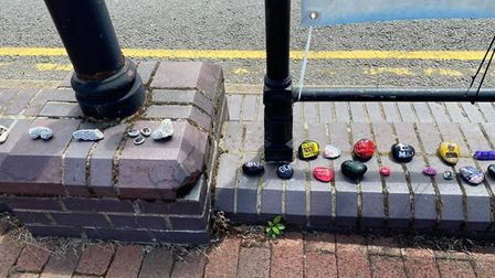More than 200 hand-painted rocks were laid in Ely market place in support of Black Lives Matter. Pic