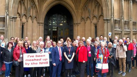 Victims pictured outside the House of Commons when the mesh scandal was debated in parliament. PHOTO