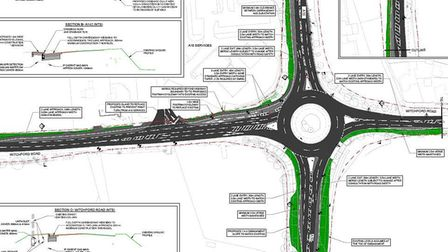 Proposed changes to BP A10 roundabout. The scheme is about to start now finance and design has been