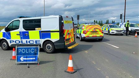 The scene on the A141 between March and Rings End following a crash diversions are in place. Pictur
