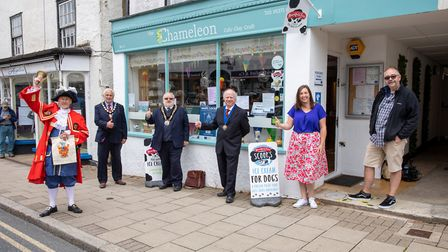 Great Dunmow welcomes the businesses reopening. Pictured are town crier Richard Harris, town mayor M