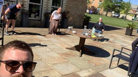Customers social distancing outside Riverside Bar & Kitchen in Ely. Picture: RIVERSIDE / FACEBOOK