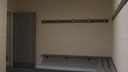 Inside one of the changing rooms of the new pavilion on Estover Road. Picture: DAN MASON