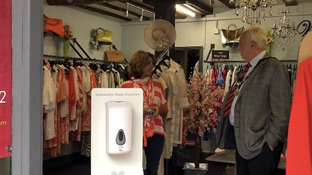 Great Dunmow mayor Mike Coleman visited business including Wardrobe with Nikki Anthony. Picture: Rac