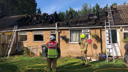 Dog dies in bungalow fire at Station Road, Isleham. The blaze required more than 30 firefighters to