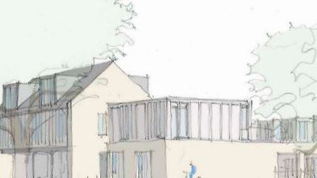 Artist's impression of the 13 home development proposed by East Cambs Council on the site of the for