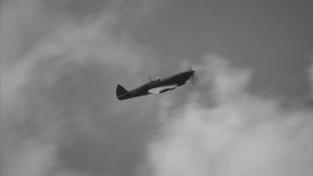 Heading over Witchford near Ely. The special 'Thank You NHS' Duxford Spitfire flying over parts of C
