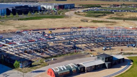 New civic hub for Cambridgeshire County Council under way at Alconbury Weald. Picture; CCC