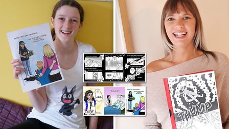 Two Ely residents have had their poems transformed into comic book illustrations. Picture: Babylon A