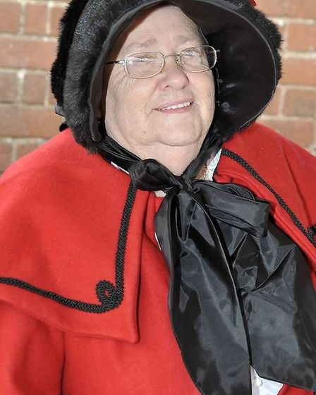 Pat Tickner is pictured at the Benwick Dickensian Market in 2012 when she was chairman of the Benwi