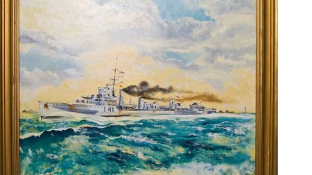 An oil painting of HMS Walpole at Ely Museum. Image: Ely Museum