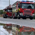 Emergency repair work is being carried out along the A605 near Whittlesey due to a burst water main.