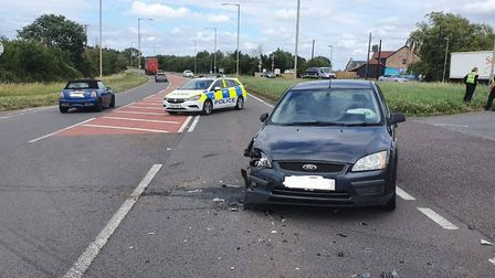 Two vehicles collided on the A10 at Little Thetford after one driver admitted not paying attention w