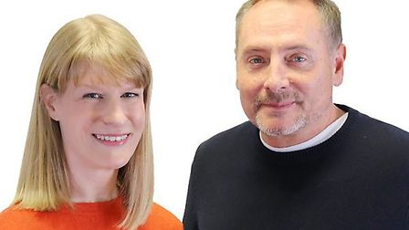 BBC Radio Cambridgeshire breakfast show host Kev Lawrence and co-presenter Dotty McLeod happier time