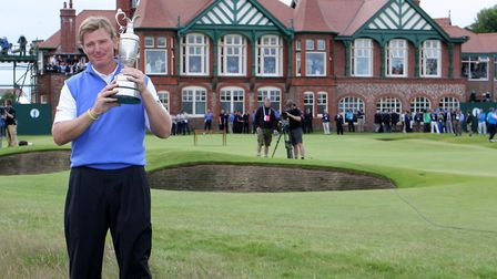 South Africa's Ernie Els celebrates winning the 2012 Open Championship at Royal Lytham & St Annes