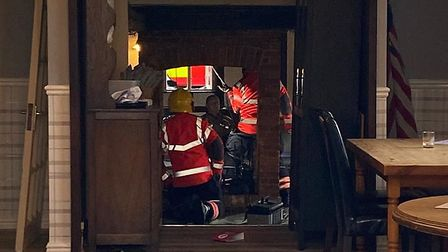 Firefighters were called to tackle a chimney fire at The Maid's Head in Wicken on Saturday evening.