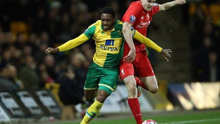 Reece in action for Norwich City Under 21s against Liverpool in the 2015-16 season. Picture: JASONPI