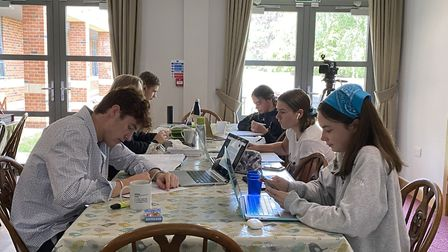 Felsted School pupils working in the boarding house. Picture: Felsted School