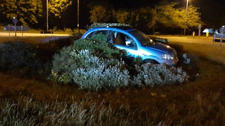 Police arrested the driver of this car for drink driving after coming across it on the Mill Hill rou