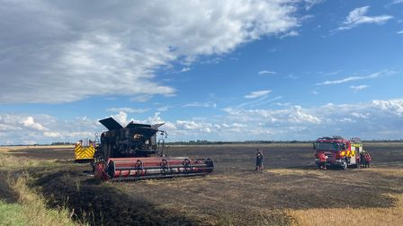 The field stubble fire on Lockspit Hall Drove in Cottenham started after a combine harvester caught