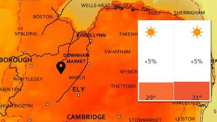 Cambridgeshire will be hotter than Mykonos and Ibiza this week, sparking a Hot Weather Alert from Th