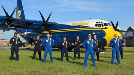 Staff at Marshall Aerospace and Defence Group in Cambridge waved farewell to the US Navy Blue Angel