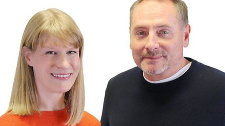 Breakfast show host Kev Lawrence and co-presenter Dotty McCloud at BBC Radio Cambridgeshire. Picture