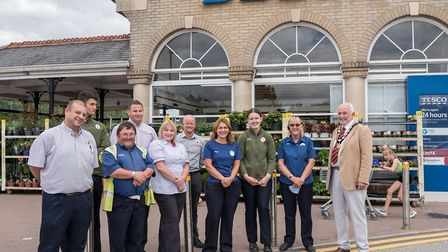Great Dunmow Tesco staff with mayor Mike Coleman. Picture: Saffron Photo
