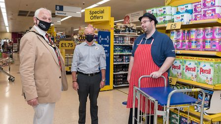 Great Dunmow mayor Mike Coleman, Tesco Dunmow store manager Paul Smith and colleague Jason Lovell.Pi