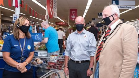 Tesco Dunmow colleague Tracey Dillinger, store manager Paul Smith and Great Dunmow mayor Mike Colema