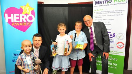 Jay won the Child Of Achievement Award in 2018. He is pictured with fellow Kiera Haynes and Alfie Mc
