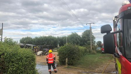 A barn, workshop and car were destroyed by fire after a blaze in Sutton Gault. Cambridgeshire Fire &