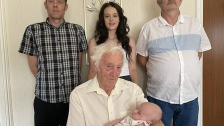 The five generations of the Symonds family from March came together for the first time this weekend