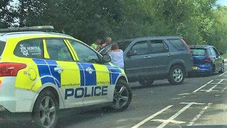 Two cars collided on the busy A10 near the Denver turning towards Southery. Picture: Archant