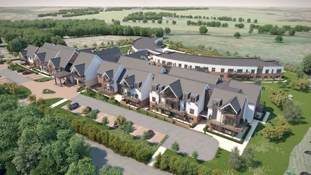 A computer generated image from the air of Polly's Field Retirement Village in Bocking. Picture: The
