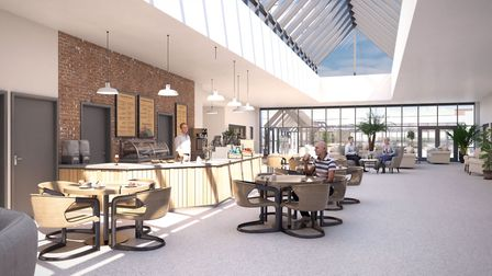 A computer generated image of the interior of the bistro being built at Polly's Field Retirement Vil
