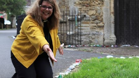 Residents in Chatteris have been placing stones at the town's Parish Church of St Peter & St Paul du